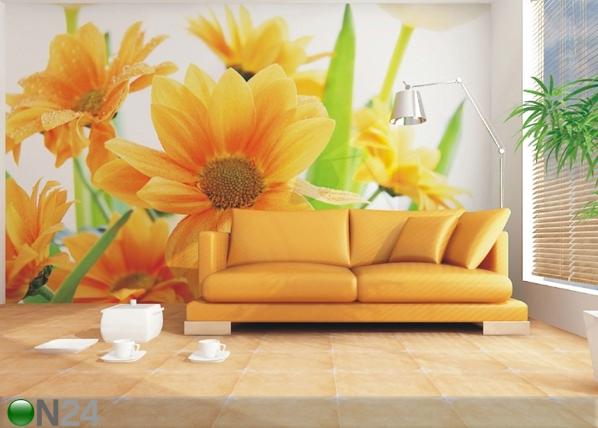 Fleece-kuvatapetti ORANGE FLOWERS 360x270 cm ED-90662