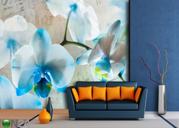 Fleece-kuvatapettii BLUE FLOWERS 360x270 cm ED-90692