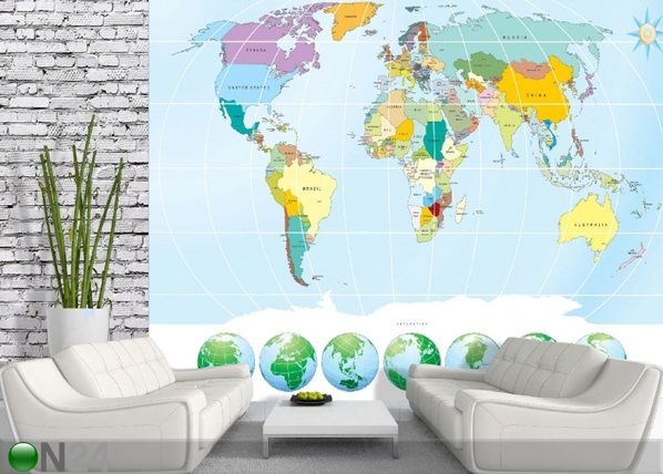 Fleece-kuvatapettiWORLD MAP 360x270 cm ED-90722