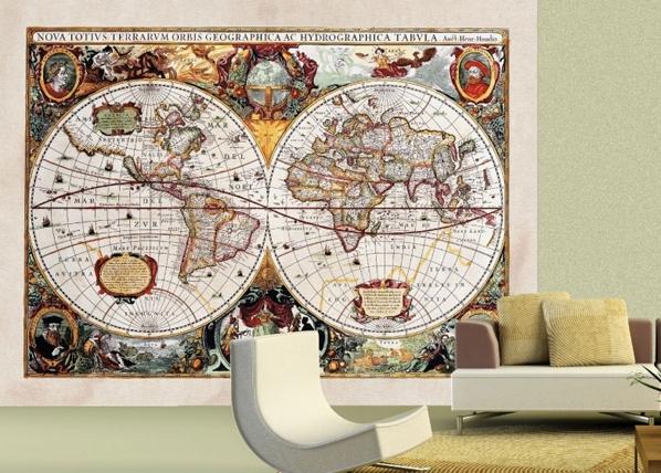 Fleece-kuvatapetti WORLD MAP 360x270 cm ED-90724