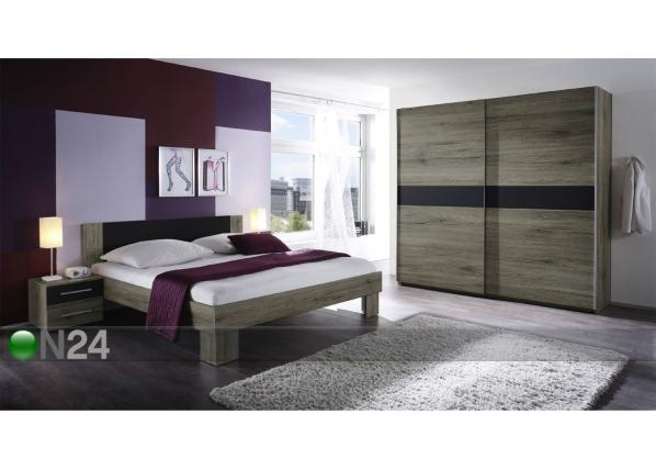 Sänky 160x200 cm, vaatekaappi, 2 yöpöytää TF-92934