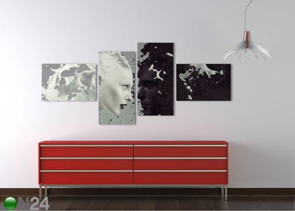 Neliosainen seinätaulu MILK AND COFFEE 100x40 cm ED-96704