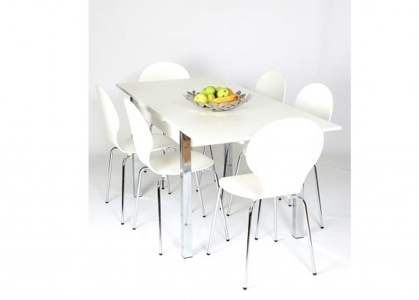 Jatkettava ruokapöytä 80x120-187 cm, valkoinen AY-99739
